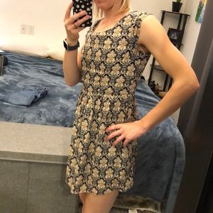 Gold and navy print dress